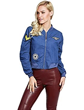 adam & eve® - Patched Stand Cuello de cremallera Frente Denim Bomber chaqueta para las mujeres