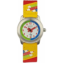 Adora Young Line Metal Watch with Black Dial Analogue Display Time Teaching Clock for Children with Leather/Textile Band 29415