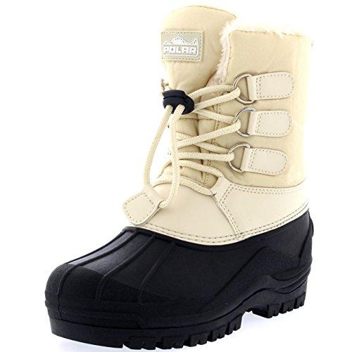 Polar Unisex Kinder Pull On Drawstring Schliessen Nylon Dreck Ente Schnee Regen Pelz Stiefel - Beige - BEI27 AYC0166 (Karibu Schuhe)