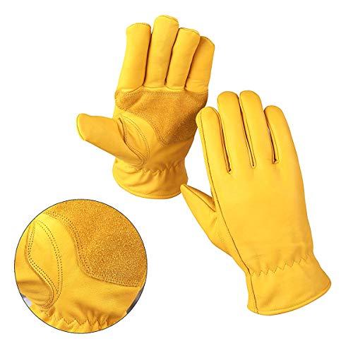 Guanti da lavoro in pelle, con cinturino, resistente a prova di per yard lavoro, giardinaggio, fattoria, magazzino, costruzioni, moto, uomo e donna Medium, giallo