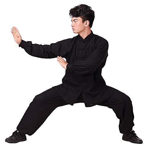 G-like Tai Chi Uniform Anzug - Traditionelle Kampfkunst Taiji Kung Fu Qigong Wushu Wing Chun Shaolin Training Klassische Kleidung Lange Ärmel für Männer Frauen - Baumwolle Leinen (Schwarz, L) (Frauen Weiße Seide Hose)