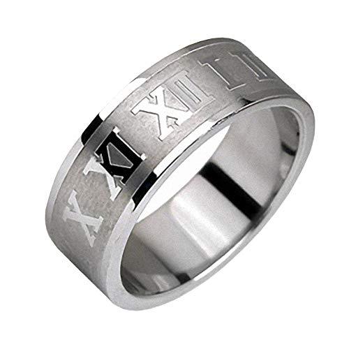 Mianova Herren Band Ring Edelstahl poliert mit Römischen Zeichen Bandring Herrenring Partnerring Biker Rocker Silber Größe 62 - Römisch Keltischen Kostüm
