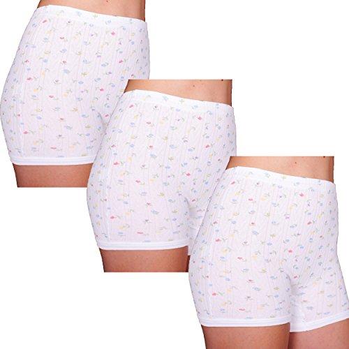 3er Pack Damen Slip mit Bein, weiß mit Blumen Muster (Schlüpfer, Unterhose)