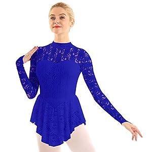 inhzoy Frauen Eislaufkleid Spitze Ballettkleid Langarm Leotard mit asymmetrisches Rock Rollschuhkleid Skating Wear Kostüm Leistung Wettbewerb