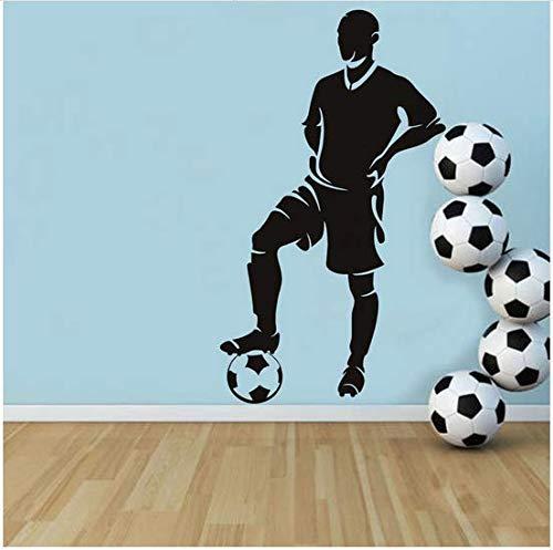 (Newberli Spieler Stand Mit Fuß Auf Ball Wandaufkleber Fußball Wohnkultur Kinderzimmer Abnehmbare Vinyl Wandtattoo Selbstklebende Tapete 33 * 59 Cm)
