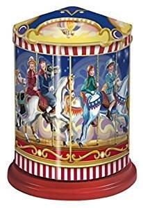 Weiss Musik Karussell Spieluhr Dose gefüllt mit 300g Oblatenlebkuchen