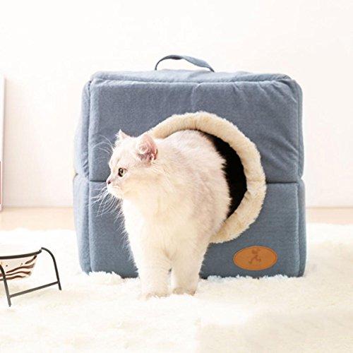 Nido de gato Adjunto invierno Mantener caliente Casa del gato Alfombra de gato Saco de dormir de gato Lavable Villa de mascotas Nido de sueño profundo Cuatro estaciones Suave y cómodo , M