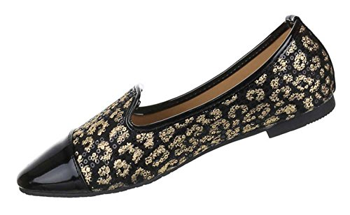 Damen Schuhe Ballarinas Halbschuhe Pailetten Besetzte Bequeme Sommerschuhe Schwarz Gold