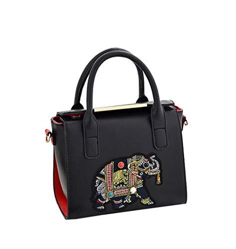 (JUND PU Leder Damen Fashion Patchwork Druck Henkeltaschen Persönlichkeit Elefanten Abzeichen Schultertasche Lässig Messenger Bag)
