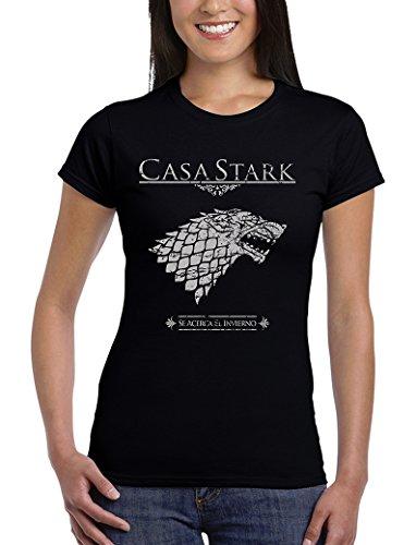 162-Camiseta Mujer Juego De Tronos - Casa Stark (Medium, Medium,Negro)
