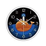 SEEKSUNG Wanduhren Stille Nicht tickt Kreative für Kid Blau Mute Schöne Fisch-Muster-Kindergarten-Wand-Dekoration Schlafzimmer Wohnzimmer (Farbe: schwarz, Größe: 12 Zoll)