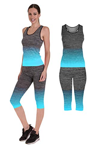 Bonjour Sportivi da Donna da Indossare/Gilet Crop Top e Leggings Stretch Fit Yoga Palestra Usura Set 3/4 Length Vest Top Turquoise One Size