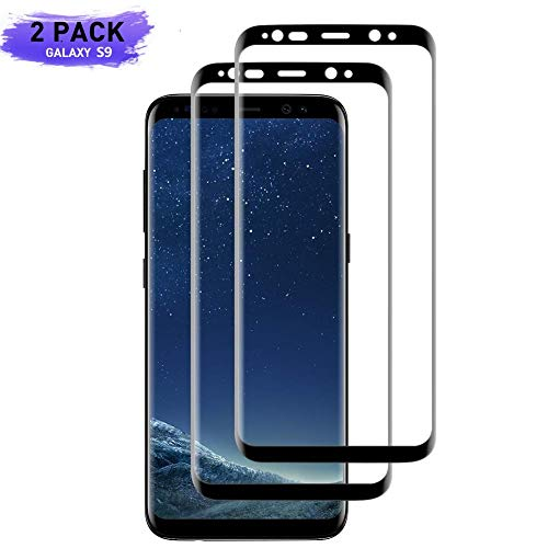 PERMORMAK [2 Pack] Galaxy S9 Screen Protector,Full Coverage Tempered Glass [3D Curved] [Anti-Scratch][High Definition] Tempered Glass Screen Protector Suitable for Samsung Galaxy S9 - Black (Schwarz)