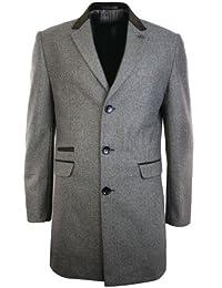 Giacca Lunga Invernale da Uomo Tweed Nero Grigia o Marrone e Finitura in  Velluto 9ef162b2050