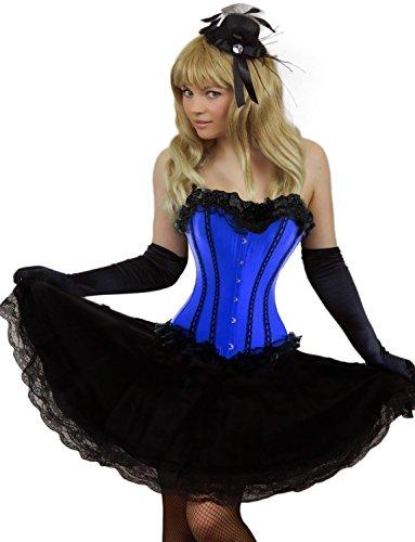 Yummy Bee - Burleske Verstärktes Korsett mit Spitzen Rock Karneval Fasching Kostüm Damen Größe 34 - 56 ( 34-36, ()