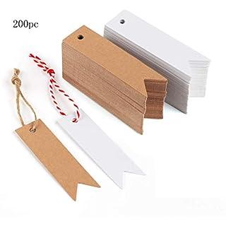 Luccase 202/200 Stück Kraftpapier Anhänger Kit 7X2 cm Leere Etikettenpapier Tag mit 2 Hanfseil Fischschwanz Tag Backen Geschenk Verpackung Label Message Karte (A)