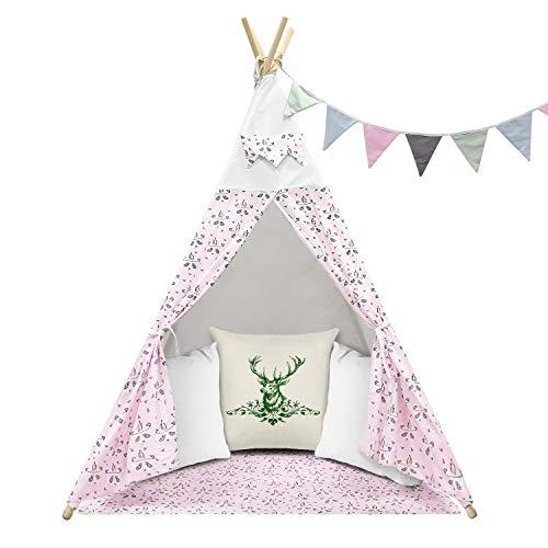ZMH Teepee Tent Kids Tepee Play House para el hogar y el jardín Juego en el Interior o al Aire Libre Use lienzos de algodón 156 cm de Altura Mobiliario y materiales para educación temprana
