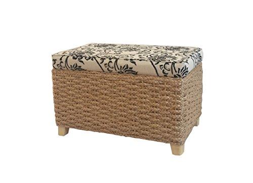 Bettbank Schlafzimmerbank Flurbank Schuhbank Sitzbank mit Aufbewahrung AufbewahrungshockerFaltbarer Aufbewahrungsbox aus natürlicher Wasserhyazinthe,mit Füße