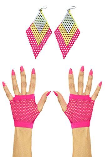 Panelize Netzhandschuhe + 80er Jahre Rauten Ohrringe in pink grün achtziger Modeschmuck neon Farben
