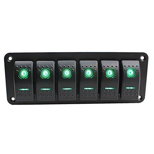 WOVELOT 6 Gang Auto Boot Marine Circuit Gruene LED Wippschalter Panel Breaker 12 V / 24 V - Marine Breaker Panel