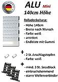 smarotech® Rolladenbehang Höhe 140cm, Breite 70-119cm aus 8x37mm Alu-Lamelle (115cm Breite x 140cm Höhe, weiß)