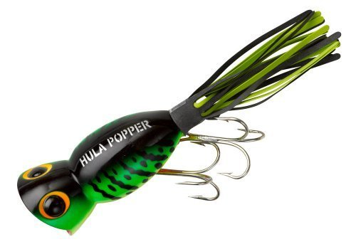 Arbogast Hula Popper Fishing Lure - Fire Tiger - Black/Chartreuse Skirt - 1 3/4 in by Arbogast Lure Company -