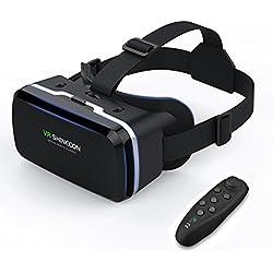 3D VR Gafas de Realidad Virtual, Gafas vr Con Bluetooth Control Remoto , para Juegos Visión Panorámico 360 Grado Película 3D Juego Immersivo para iPhone X/7/ 7plus /6s 6/plus, Galaxy s8/ s7 s6/edge note otros celulares con pantalla de 4,7 a 6,0 pulgadas (GL04)