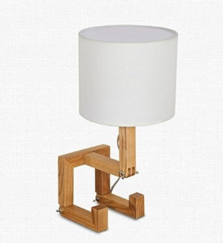 LH&M Moderne kreative feste hölzerne Hauptdekoration-Tabellen-Lampen-Schlafzimmer-Nachttischlampen-Retro Studie-hölzerne