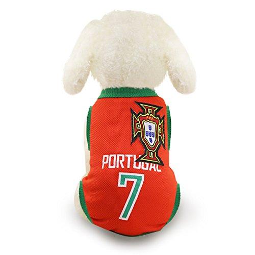 Hunde Trikot Fußball Jersey T-Shirt für Hunde Katzen Kostüme Haustier Weltmeisterschaft Weihnachtsmannkostüm Kleidung Haustierhundekleidung Portugal (M, Rot) (Mantel Portugal)