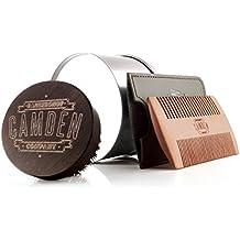 Camden Barbershop Company: Cepillo para barba de madera de nogal y cerda de jabalí con caja, con grabado con láser y barnizado a mano, ideal para el cuidado de tu barba y la aplicación de aceites