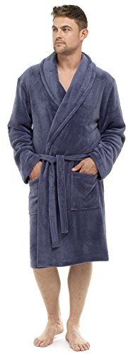 Mens Luxury Soft Comfy Fleece Dressing Gown Robe Nightwear (XX-Large, Slate Grey)