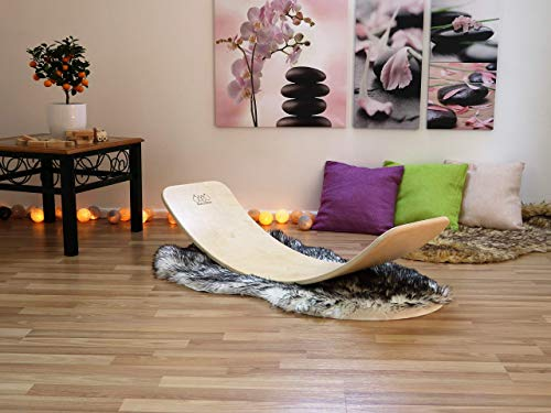 KateHaa Large Wooden Balance Board, Montessori toy, Wooden toy, Curvy board, Kids toy, Rocky balance board