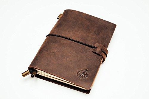 Notizbuch Im Taschenformat Aus Leder - Nachfüllbar, Reisetagebuch, Ideal Um Notizen Zu Machen, Als Geschenk, Reisende, Berufstätige, Als Tagebuch. Klassischer Vintage-Stil (12.5 x 9cm)