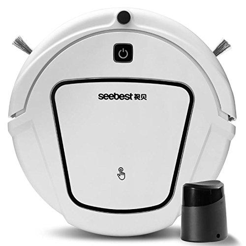 Saugroboter Staubsauger-Roboter Selbstaufladung mit Fernbedienung, 4 Reinigungsmodelle,HEPA Filter/ Wassertank/geeignet für Tierhaare, Holzboden und Teppiche-(120Min Laufzeit)