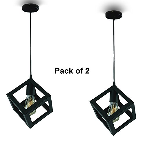 Flourish Cube Hanging Light Decorative Light Pack Of 2 Dinning Hall Restaurant Bar Cafe Ceiling Light Lamp With Filament ST64 Bulb Free