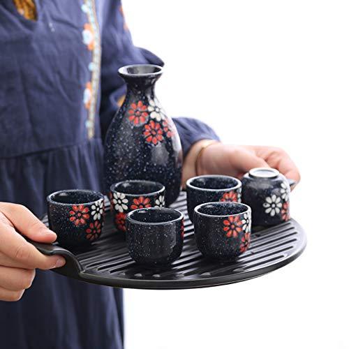 Miruike 7 Stück Japan Keramik Sake-Sets Sake-Topf für Thanksgiving Weihnachten Geschenk Sake-Becher Deep Blue (Salver nicht im Lieferumfang ()