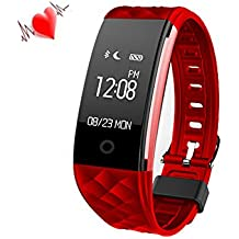iRapid Sport Bluetooth elegante pulsera IP67 impermeable con OLED táctil pantalla Smart Watch y Fitness Tracker pulsómetro para IOS 7.0, 4.3 sobre sistema Android(Red)