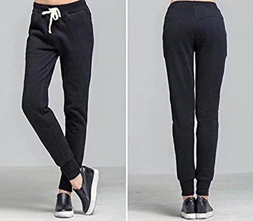 femmes Sport longue polaire JOGGING AVEC POCHES côtelé Gym Pantalon de jogging Noir