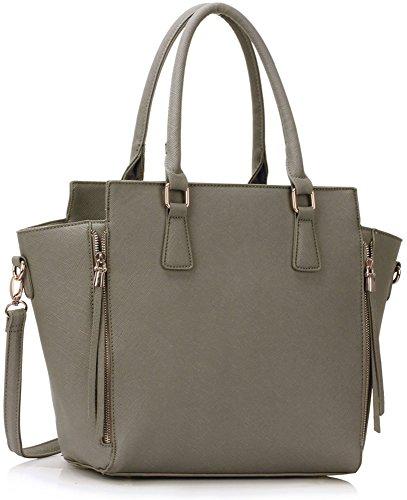 LeahWard Damen Zipper Handtaschen schönes Elegante Tote Schultertasche Taschen (Grau)