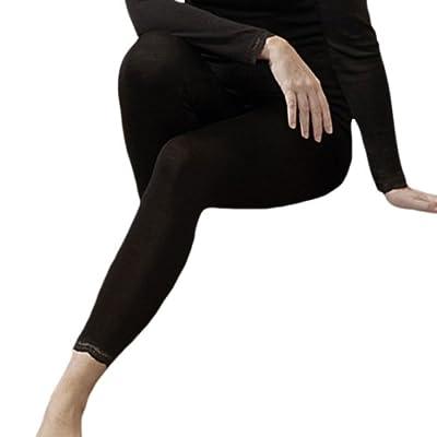 Women's Luxury Lace Edge Thermal Leggings in 70% Organic Merino Wool 30% Silk