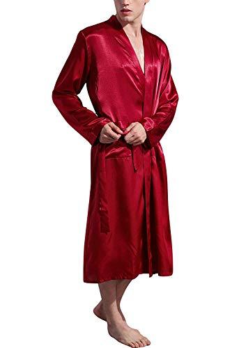 Albornoz Kimonos Pijama,Ropa De Dormir para Hombre Satín,Albornoz para Hombre,para El Hogar, Viajes...