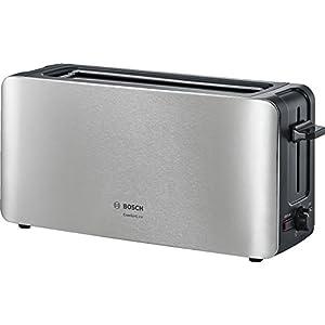 Bosch TAT6A803 Langschlitz-Toaster ComfortLine, automatische Brotzentrierung, Auftaufunktion, 1090 W, edelstahl / schwarz