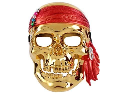 (Halloween Piraten Totenkopfmaske ca 16 x 21 cm Partyzubehör für Kinder und Erwachsene 5424 von Alsino, Piraten-Maske gold)