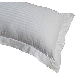 Homescapes Damast Kopfksisenbezug mit Stehsaum extra groß 90 x 50 cm weiss 100% ägyptische Baumwolle, Kissenbezug mit Fadendichte 330