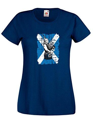 Settantallora - T-shirt Maglietta donna J1938 Costume Tradizionale Scozzese e Cornamusa Blu