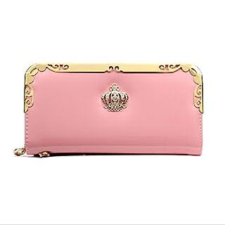 iLory Damen PU-Leder Geldbörse Kreditkartenetui Wallet Reißverschluss langen Geldbeutel Multi-Tasche Unterarmtasche (Rosa)