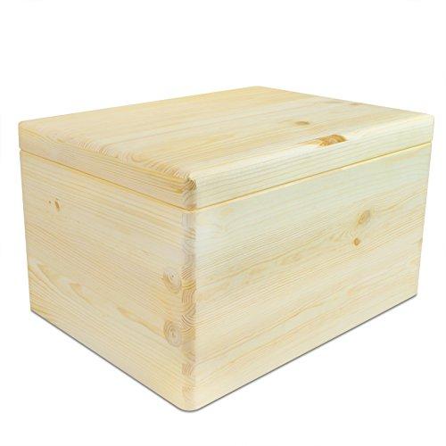 Caja de madera universal con tapa para almacenamiento - pino natural sin tratar FSC - 30 x 20 x 14 cm - Grinscard