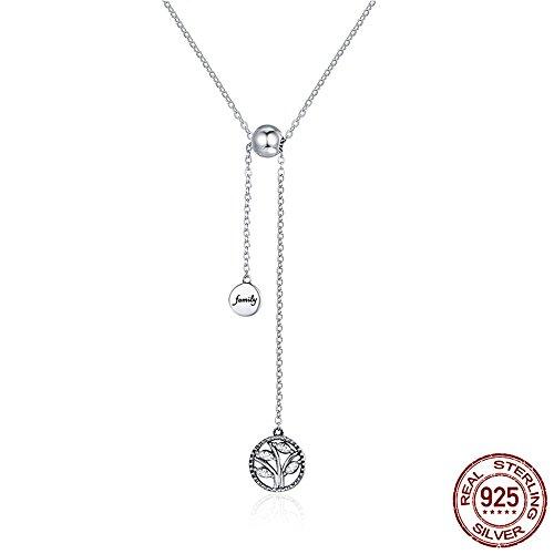 BYEONE Echte 925 Sterling Silber Baum des Lebens Haus Brief Gliederkette Halsketten Anhänger Authentische Silber Schmuck