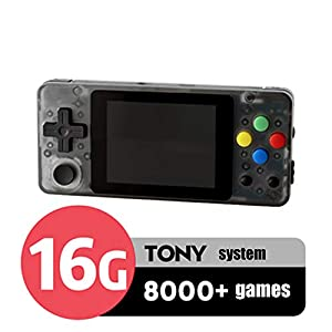 LSXX Open-Source-Spielkonsole Entwickler Programmierung Spiel 2.7 Zoll Handheld-Konsole PSP FC GBA Spielmaschine Built-in 13000 Spielen,Schwarz,16GB