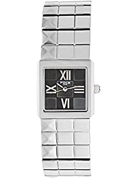 FOCE Silver Square Analog Wrist Watch for Women with Silver Metal Strap - F755LSM-BLACK